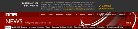 BBC - Cookie message
